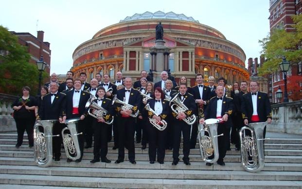 Tongwynlais Band outside the Royal Albert Hall