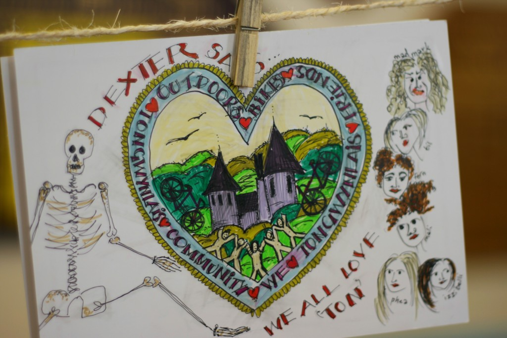 postcard on display