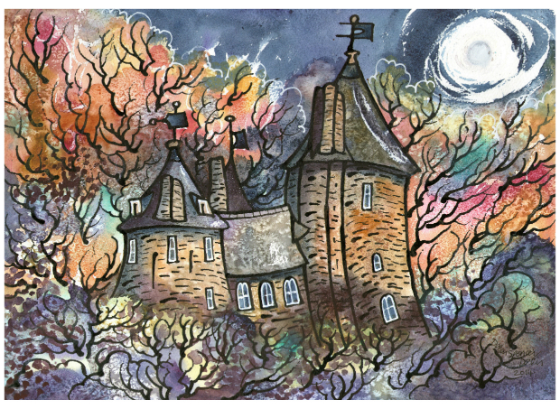 Castell Coch painting - Autumn Moon