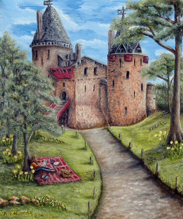 Painting of Castell Coch in spring