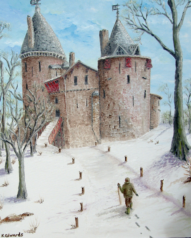 Painting of Castell Coch in winter