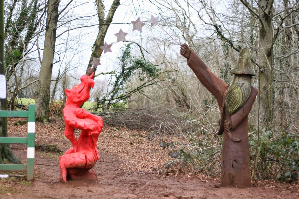 Sculpture trail wizard and dragon