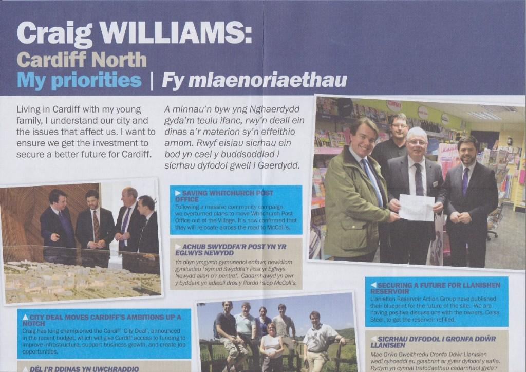 Craig Williams election leaflet