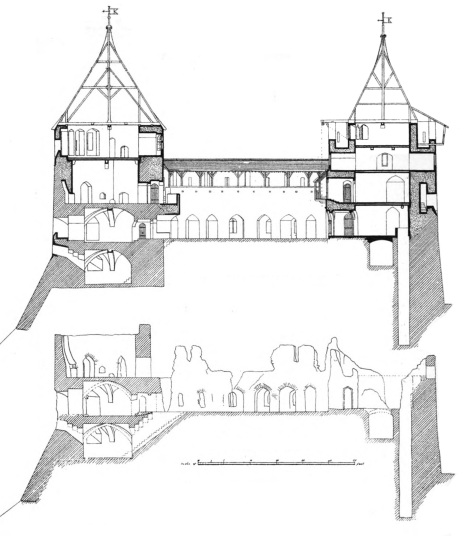 The frontispiece drawing from Burges's original Castell Coch proposal, 1874