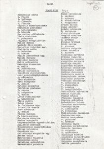 List of plant species around the Garth - 1967