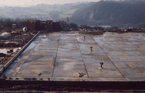 Tongwynlais 1/2 built reservoir , view west to Radyr & Little Garth, 7 Feb 1972