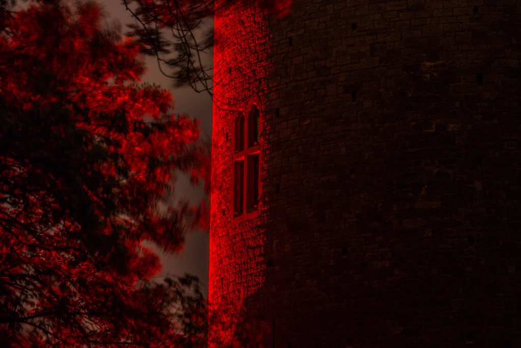 A closeup of one of the towers of Castell Coch