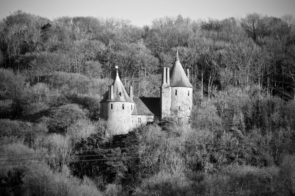 Castell Coch black and white by Nick Russill