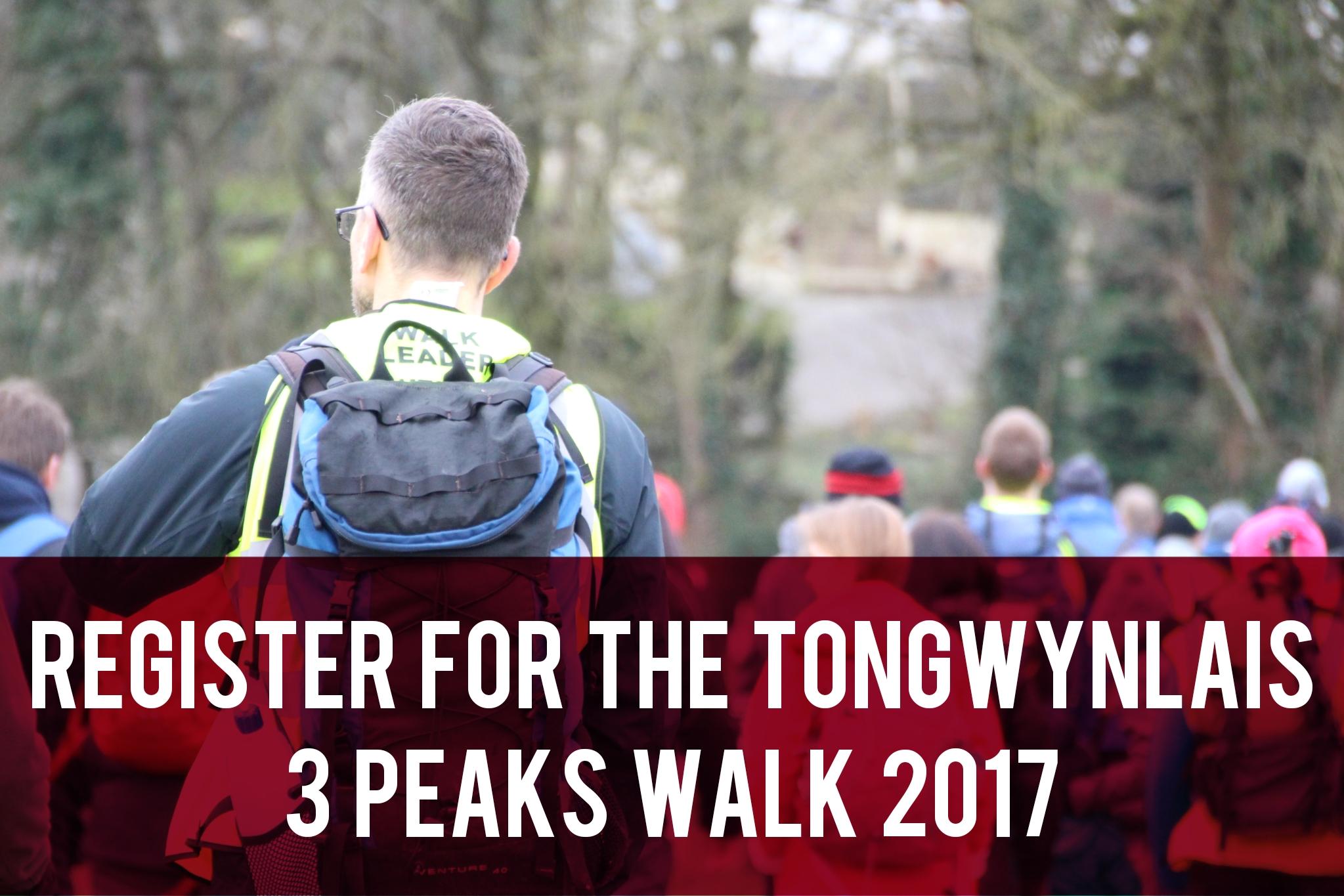 Register for the Tongwynlais 3 Peaks Walk 2017