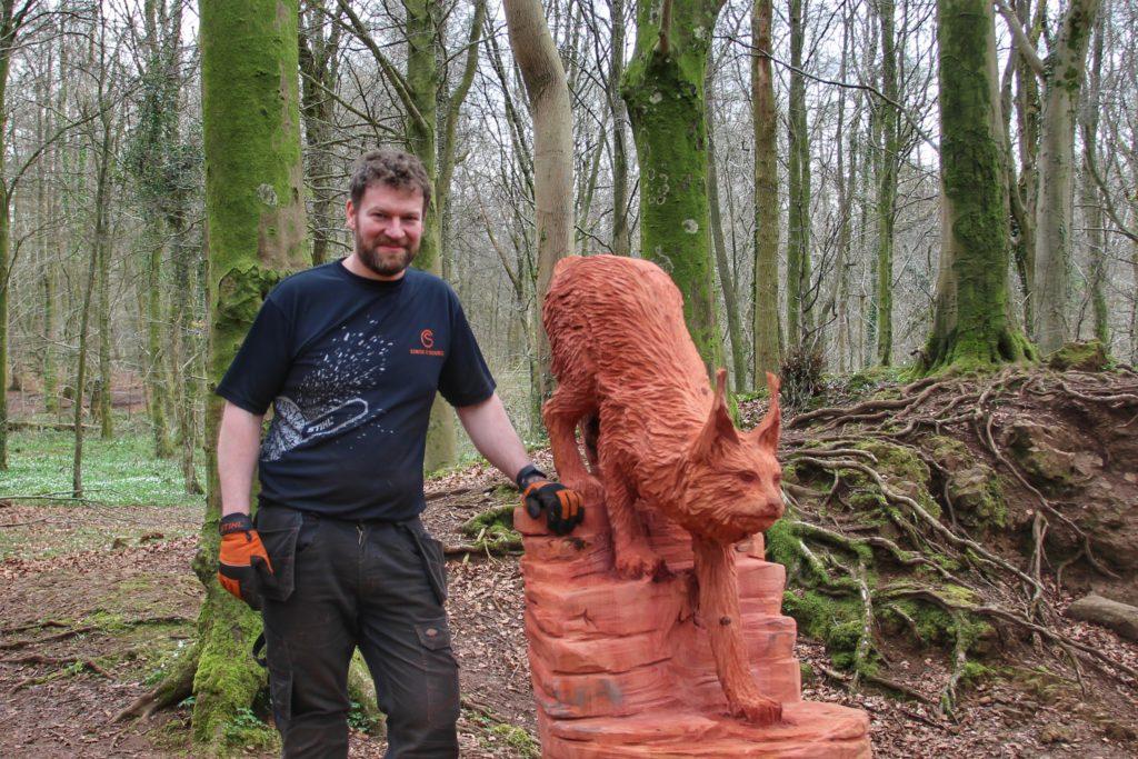 Artist Simon O'Rourke in Fforest Fawr
