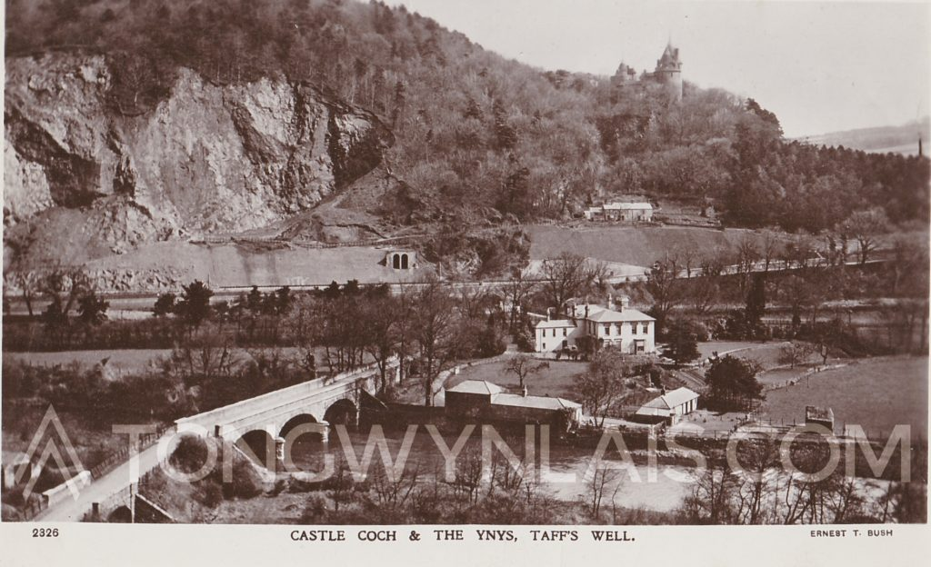 Old postcard of Castell Coch and The Ynys