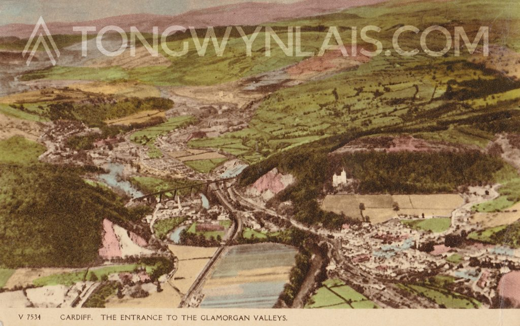 Old postcard showing aerial photo of Tongwynlais