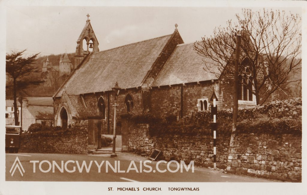 Old postcard featuring St Michael's Church, Tongwynlais.