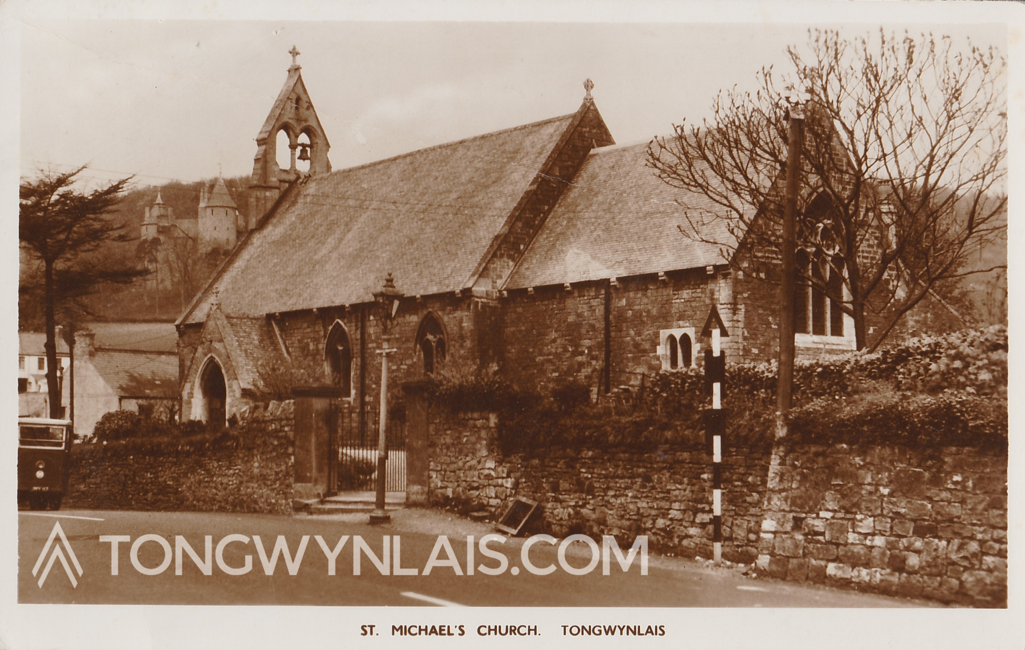 Photo of St Michael's Church on an old postcard