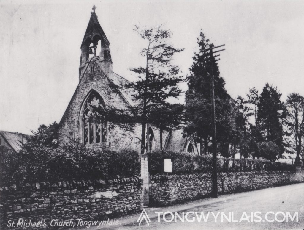 Old photo of St Michael's Church, Tongwynlais.