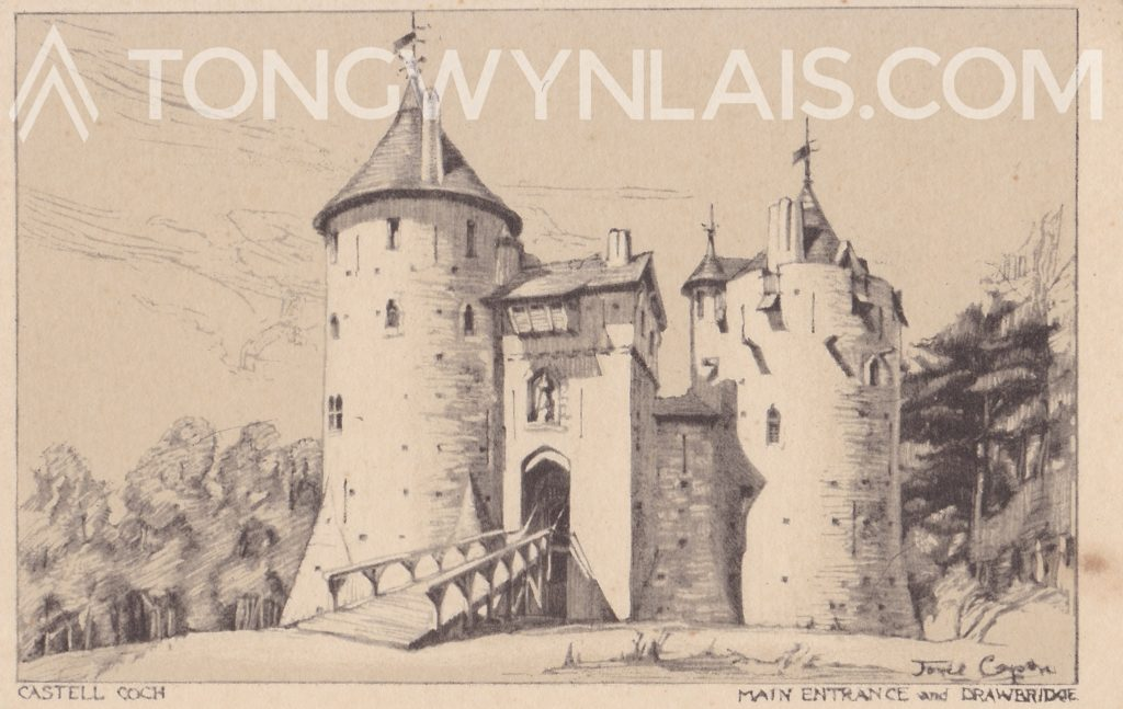 Old postcard featuring drawing of Castell Coch