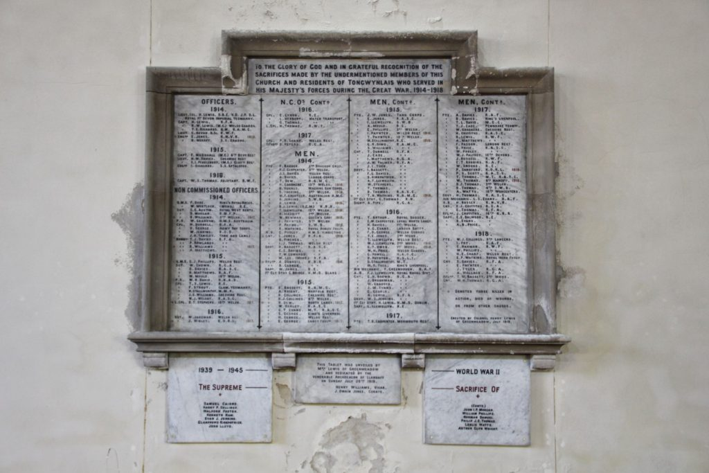 War memorial in St Michael's Church, Tongwynlais