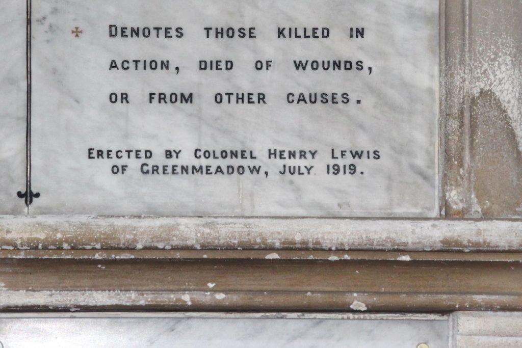 War memorial in St Michael's Church, Tongwynlais