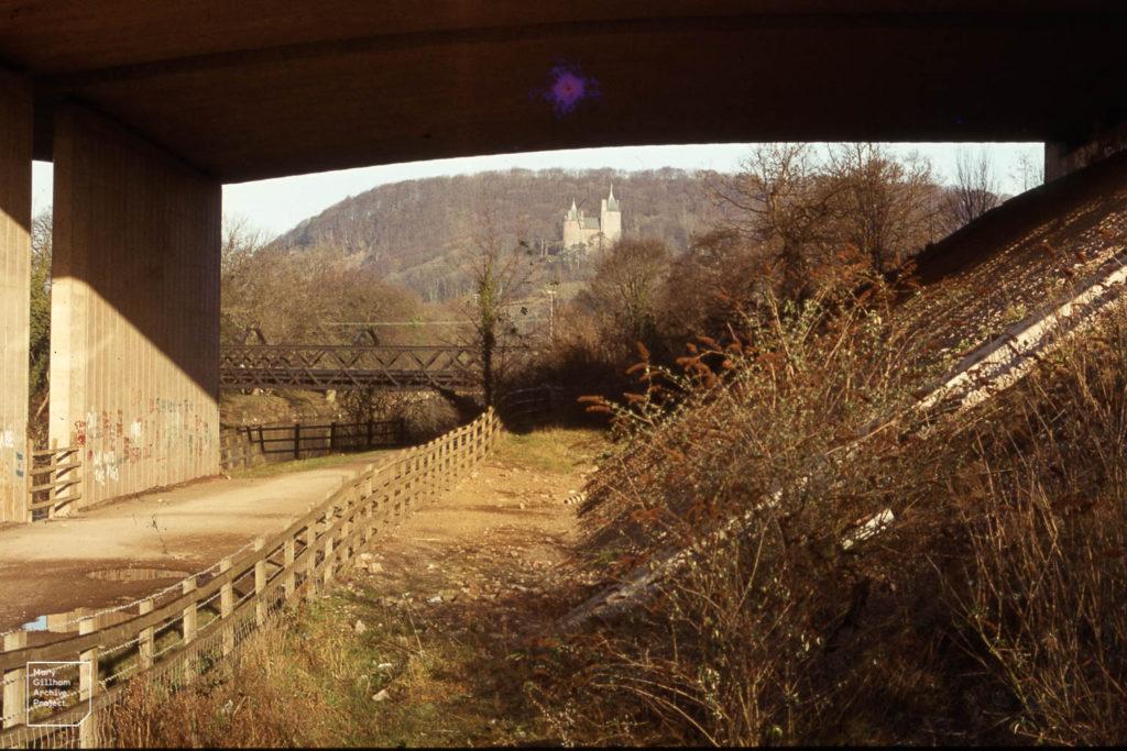 Castell Coch and iron birdge under M4 bridge, January 1985