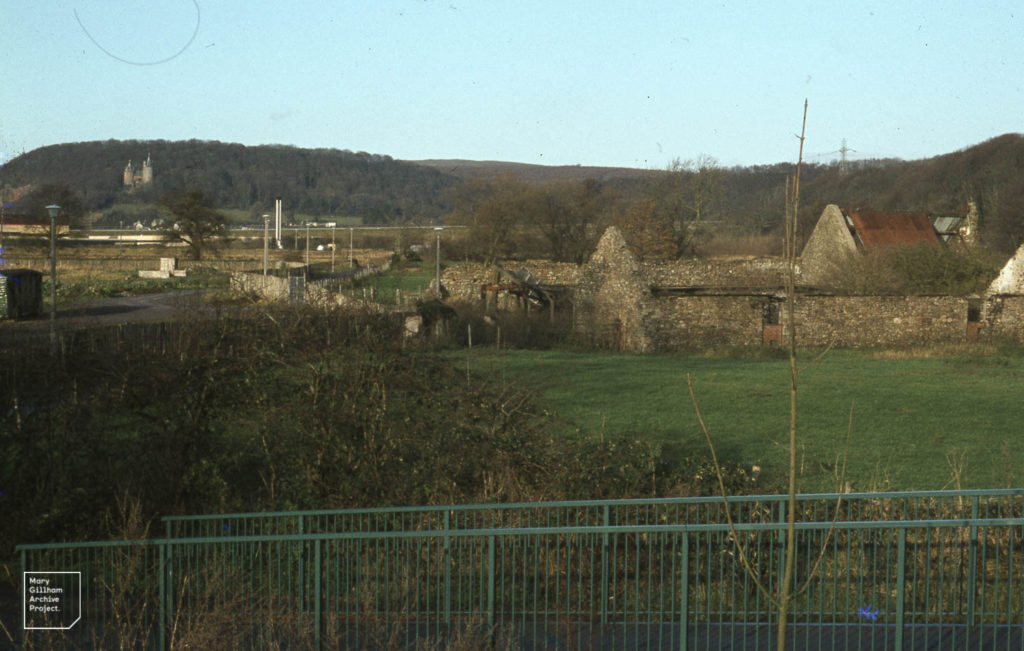 Barn of Forest Farm. Castell Coch from Taff Foot Bridge by Radyr. 5th December 1982.