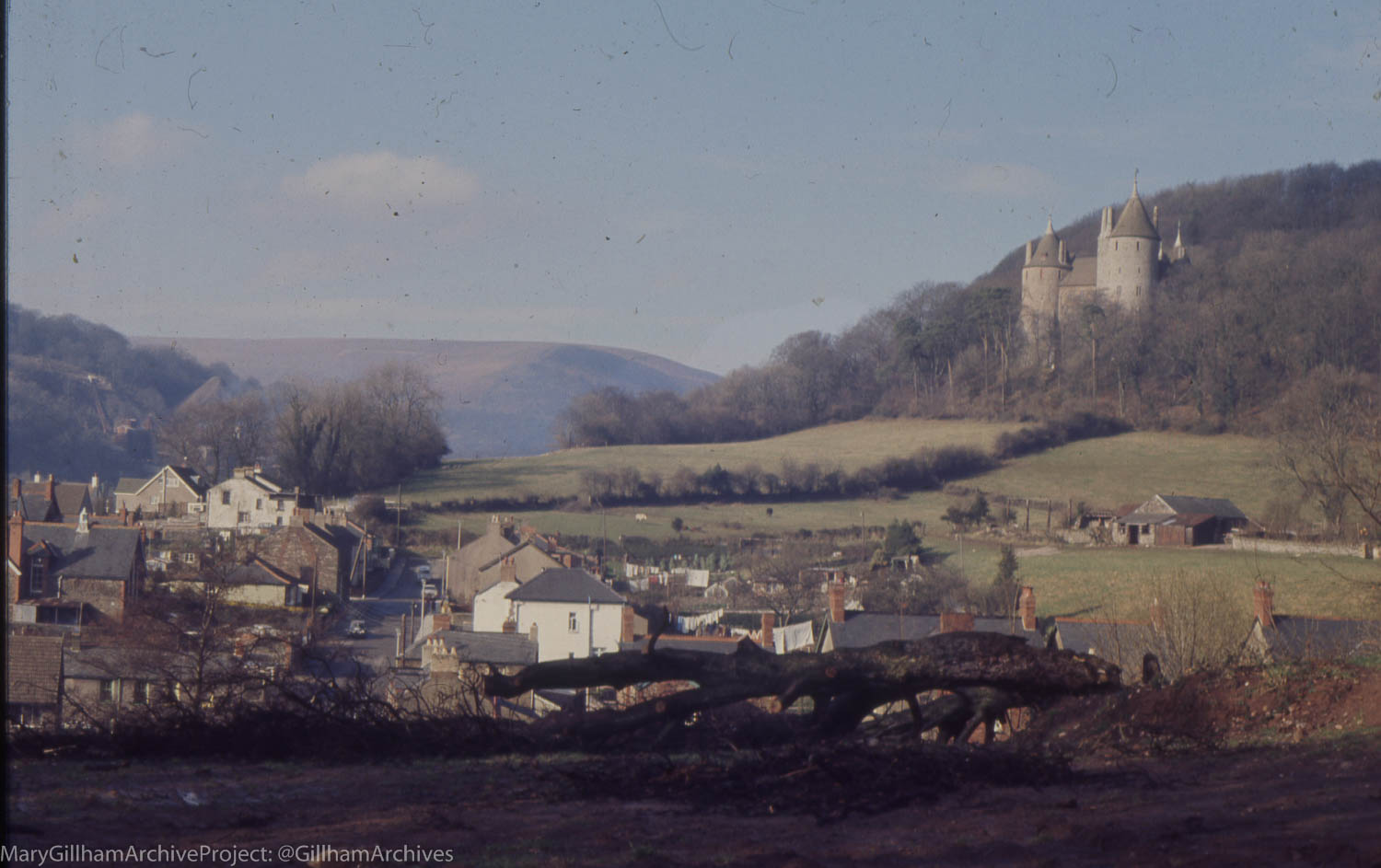 View North to Castell Coch above Tongwynlais. February 1972