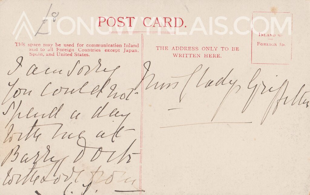 Message on the back of a postcard