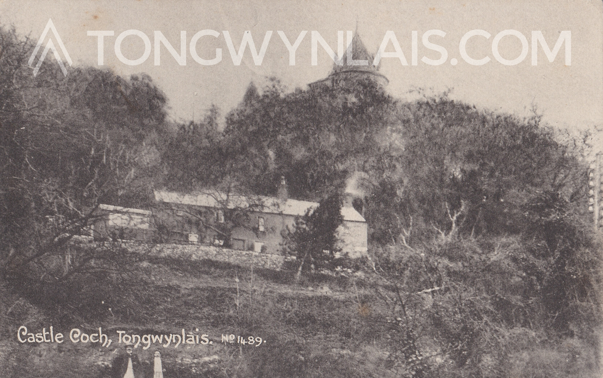 Postcard of cottages in front of Castell Coch, Tongwynlais