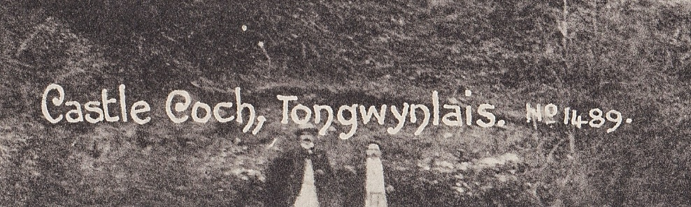 Crop of postcard featuring two men standing in front of some cottages