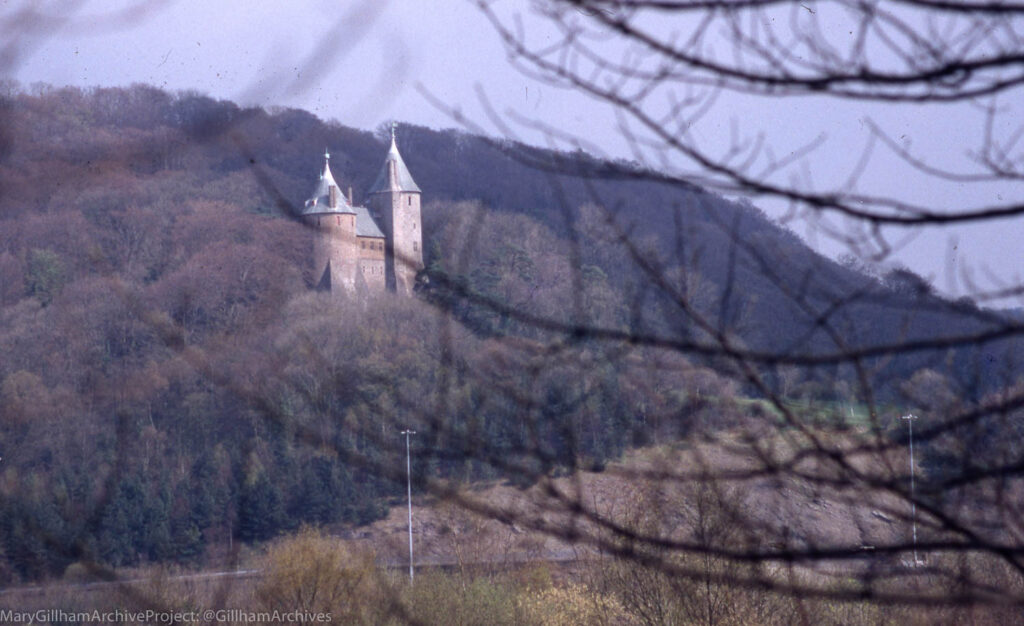 Castell Coch across Ty Nant Quarry And Taff, 10/04/95