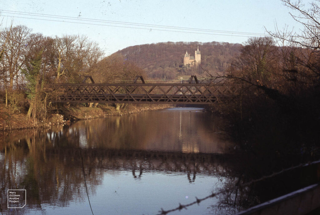 Iron bridge tramway, Castle Coch folly from M4 on Taff, January 1985