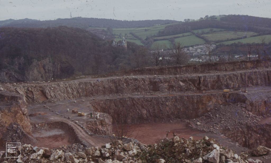Little Garth Quarry, view to rising ORS (right) and limestone with Castell Coch, December 1984