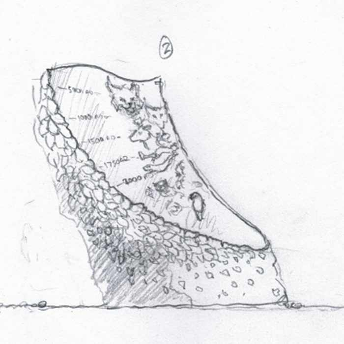 Drawing of a sculpture of a timeline on a carved tree trunk