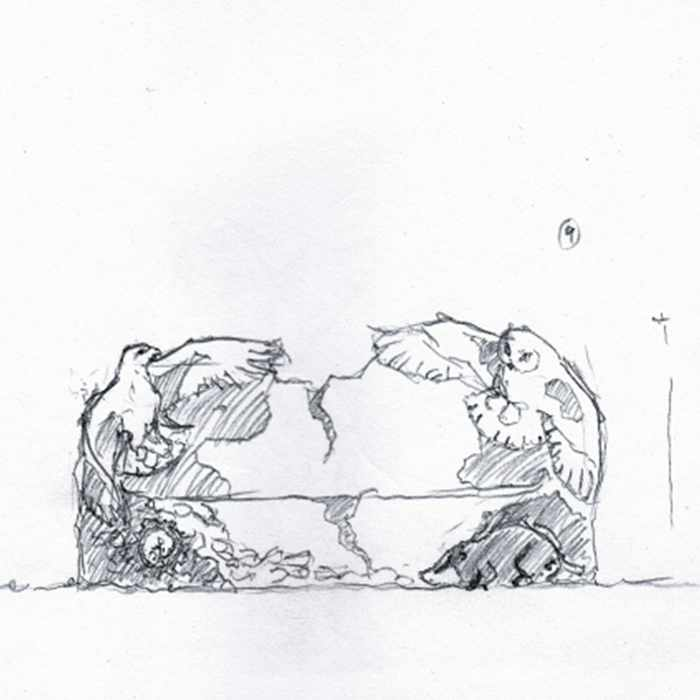 Drawing of a sculpture of a bench featuring a bird at each end