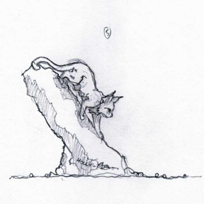 Drawing of a sculpture of a lynx on a tree