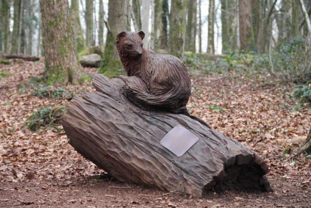 Wooden sculpture of a pine marten