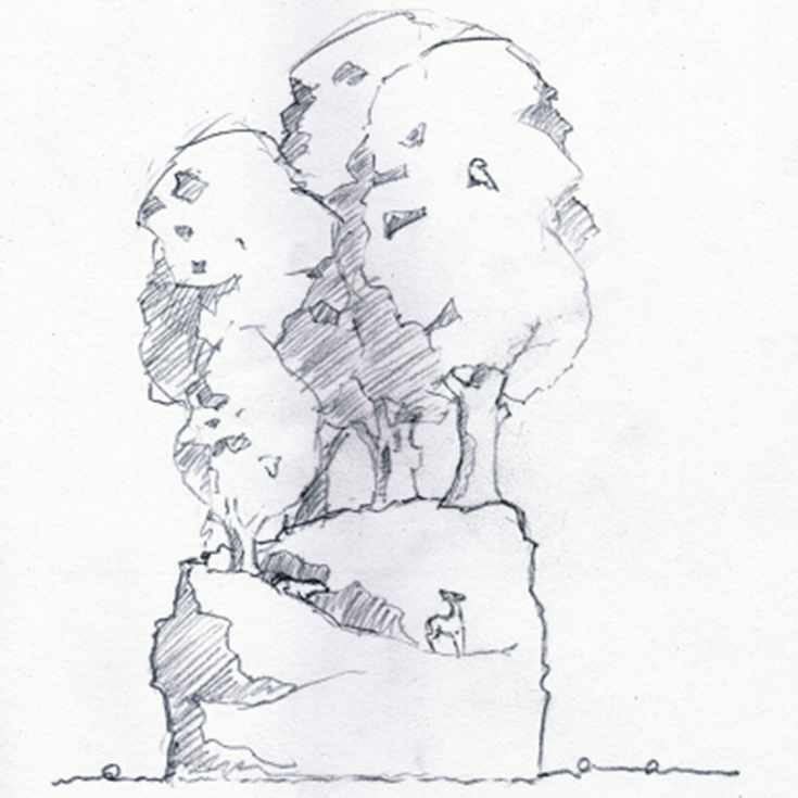 Drawing of a sculpture of a collection of trees and forest animals