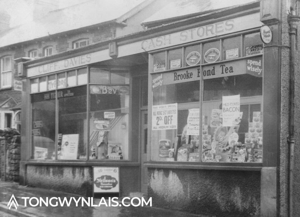 Old photo of shop on Mill Road, Tongwynlais
