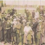 Group of people in the early 20th century on a trip to Weston by paddle steamer