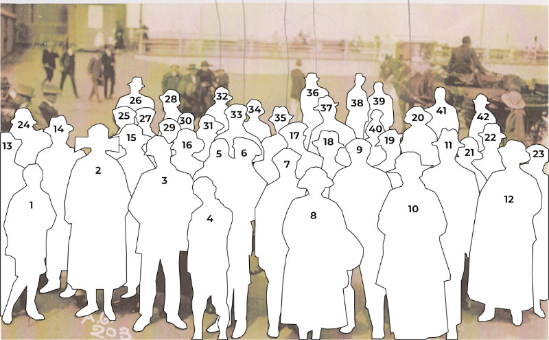 Numbered outlines of people in the early 20th century on a trip to Weston by paddle steamer