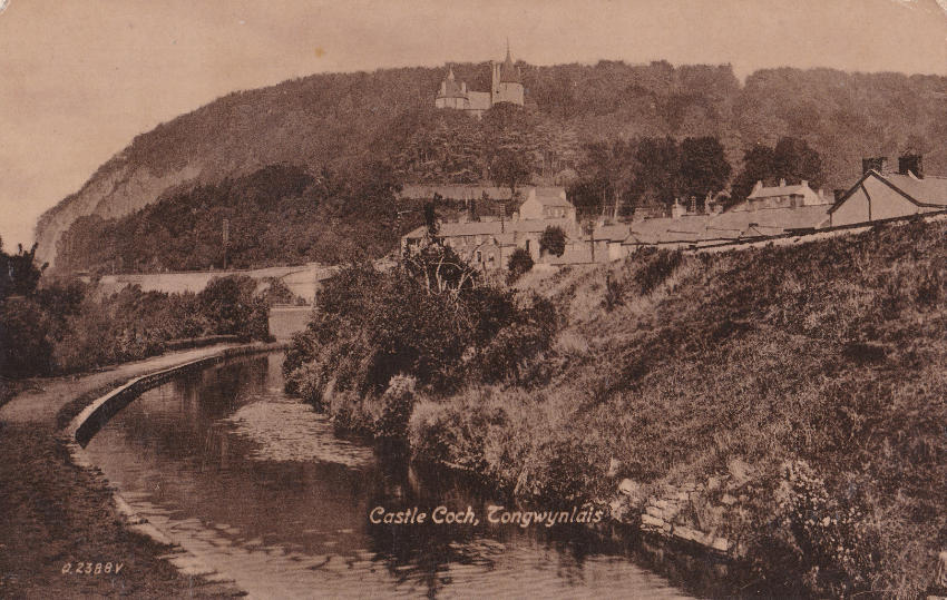 Old postcard showing Tongwynlais, the Glamorganshire Canal and Castell Coch