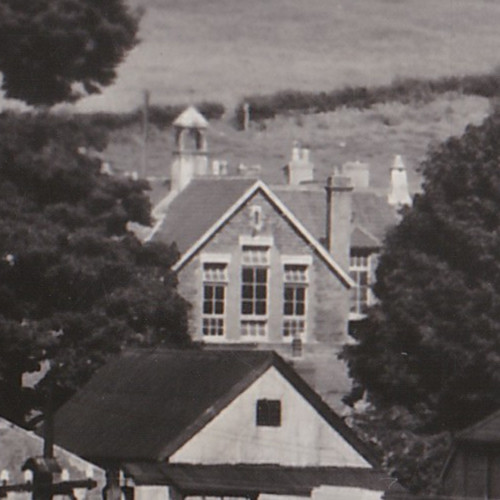 Close up of the old school building