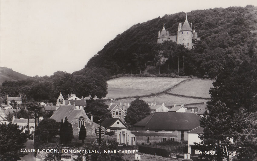 Postcard of Tongwynlais village with Castell Coch in the distance